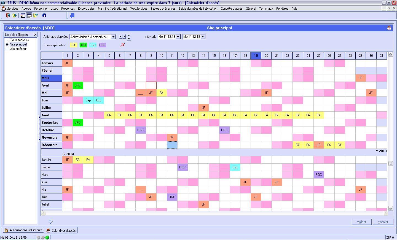 logiciel calendrier annuel des accès