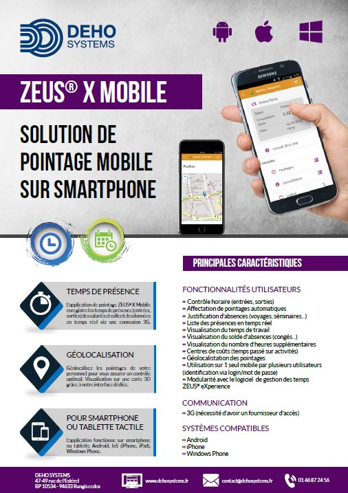 Pointeuse Mobile Smartphone ZEUS Mobile