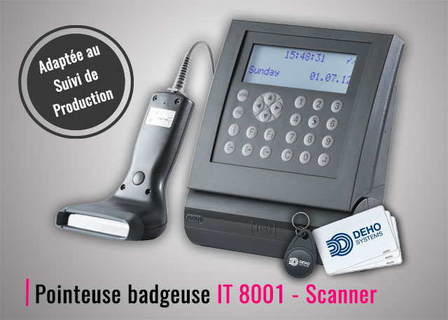 Pointeuse badgeuse RFID IT 8001 Scanner douchette code-barres