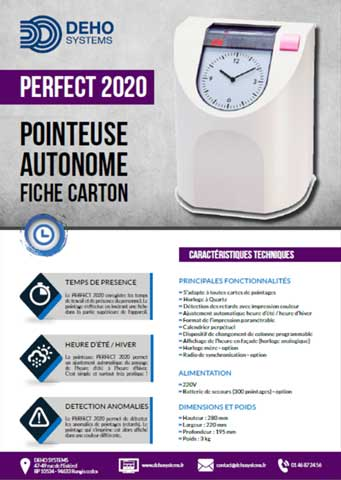 Plaquette pointeuse Perfect 2020 Deho Systems