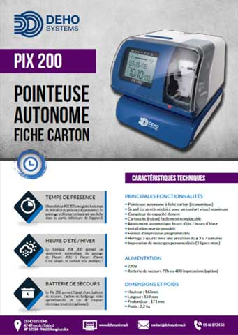 Plaquette pointeuse Pix 200 Deho Systems